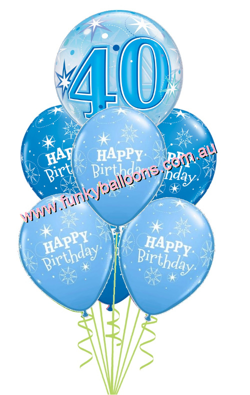 40th Blue Starburst Bubble Birthday Bouquet