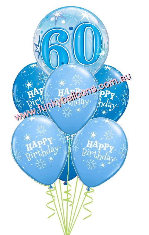 60th Blue Starburst Bubble Birthday Bouquet