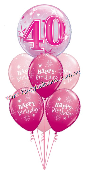 40th Pink Starburst Bubble Birthday Bouquet